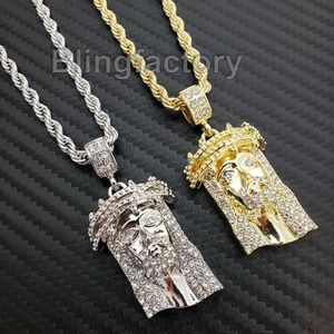"Jesus Head Pendant & 4mm 24"" Rope Chain Necklace"